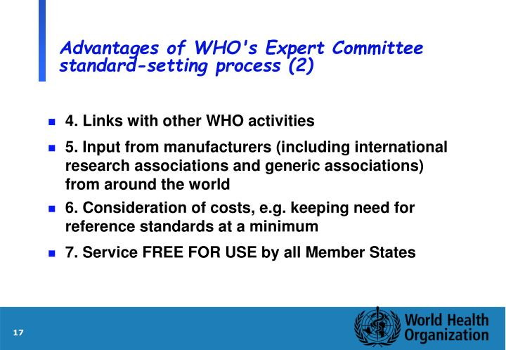 Advantages of WHO's Expert Committee standard-setting process (2)
