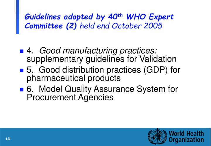 Guidelines adopted by 40