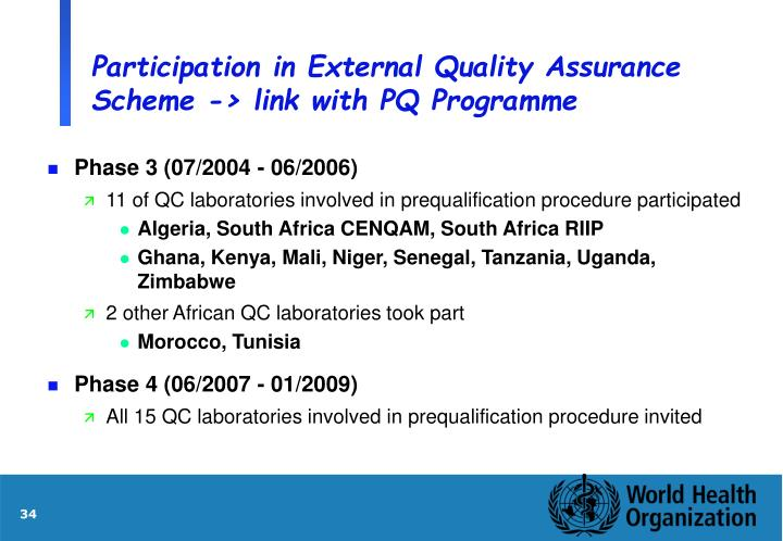 Participation in External Quality Assurance Scheme -> link with PQ Programme