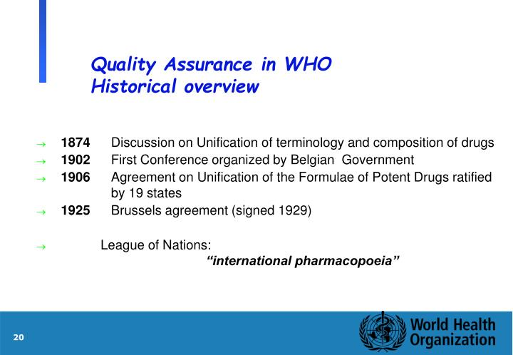 Quality Assurance in WHO