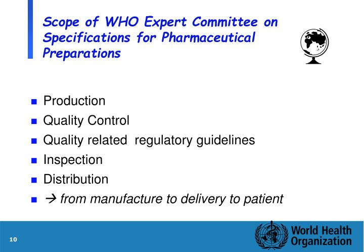 Scope of WHO Expert Committee