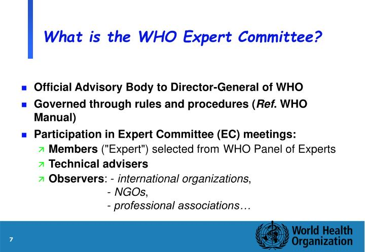 What is the WHO Expert Committee?