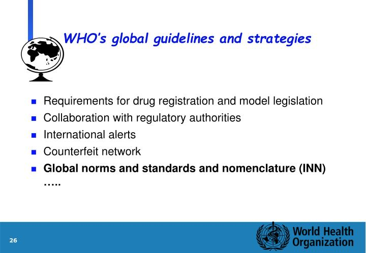 WHO's global guidelines and strategies