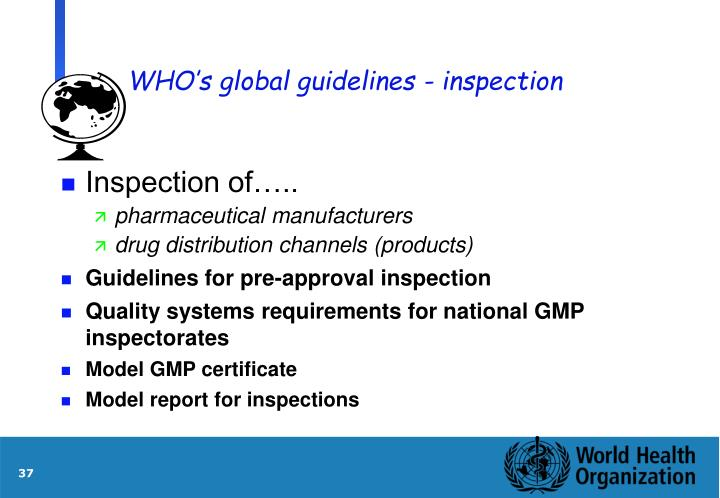 WHO's global guidelines - inspection