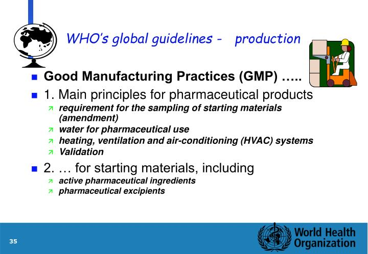 WHO's global guidelines -production