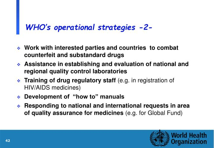 WHO's operational strategies -2-