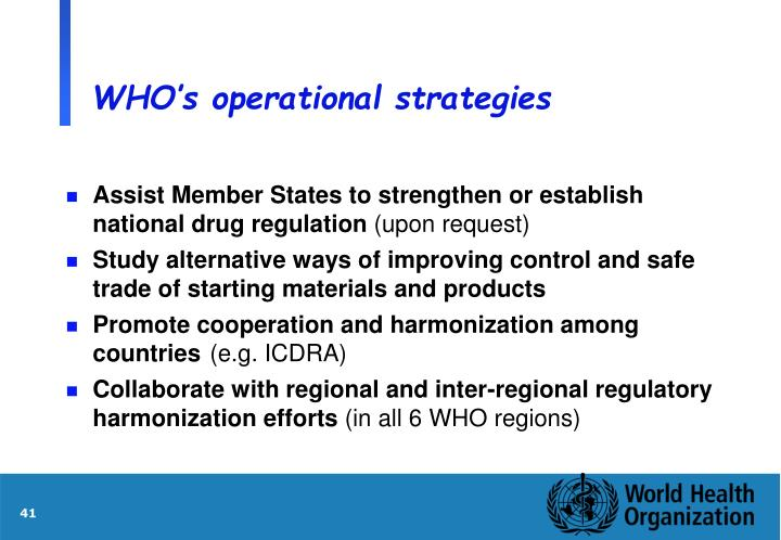 WHO's operational strategies