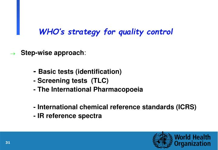 WHO's strategy for quality control