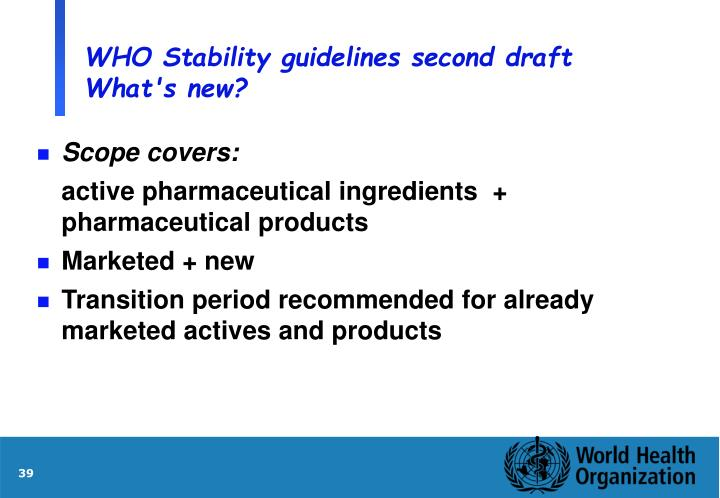 WHO Stability guidelines second draft What's new?