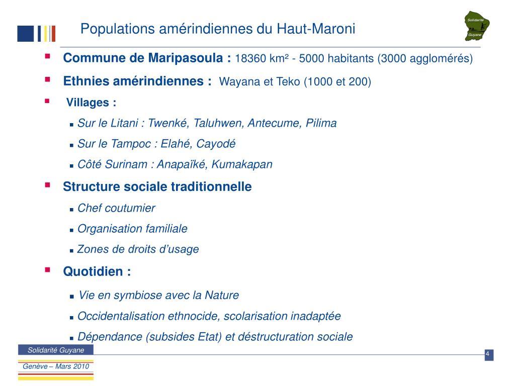 Populations amérindiennes du Haut-Maroni
