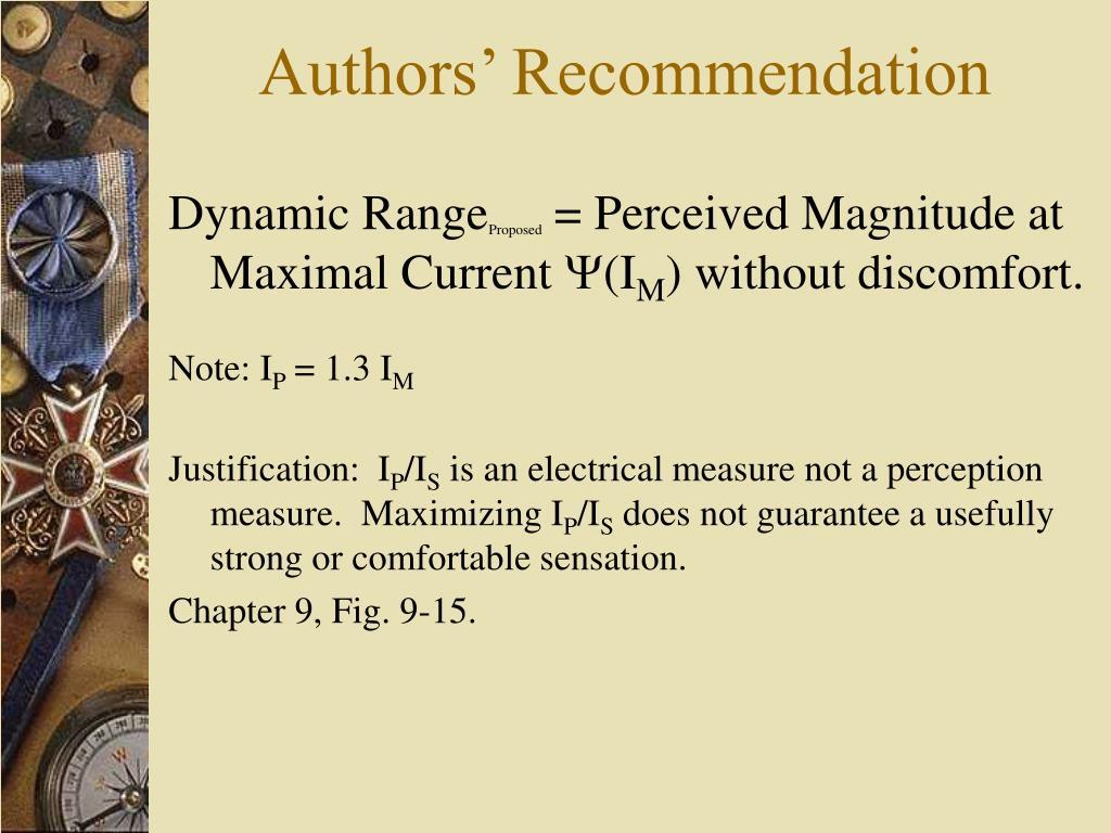 Authors' Recommendation