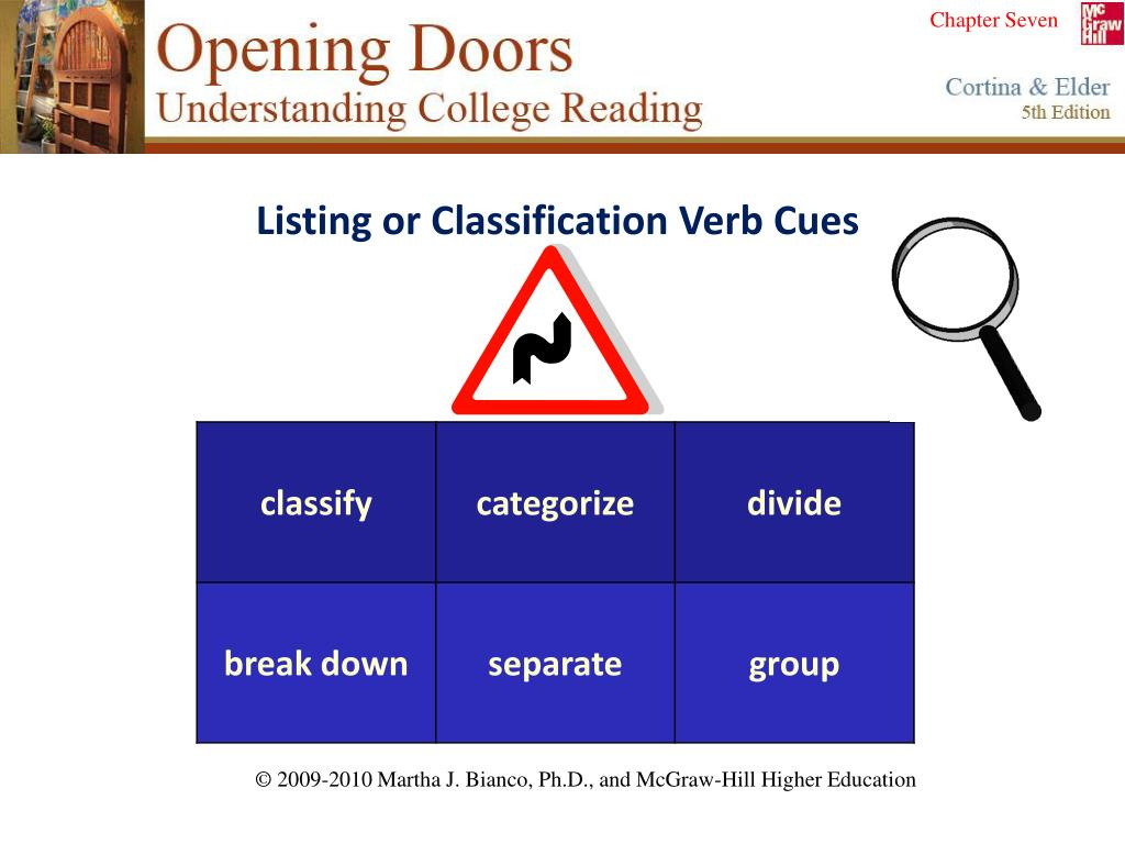 Listing or Classification Verb Cues