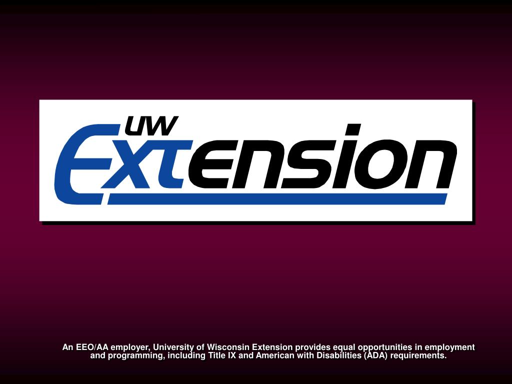 An EEO/AA employer, University of Wisconsin Extension provides equal opportunities in employment and programming, including Title IX and American with Disabilities (ADA) requirements.