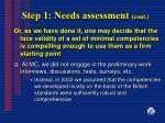 step 1 needs assessment cont