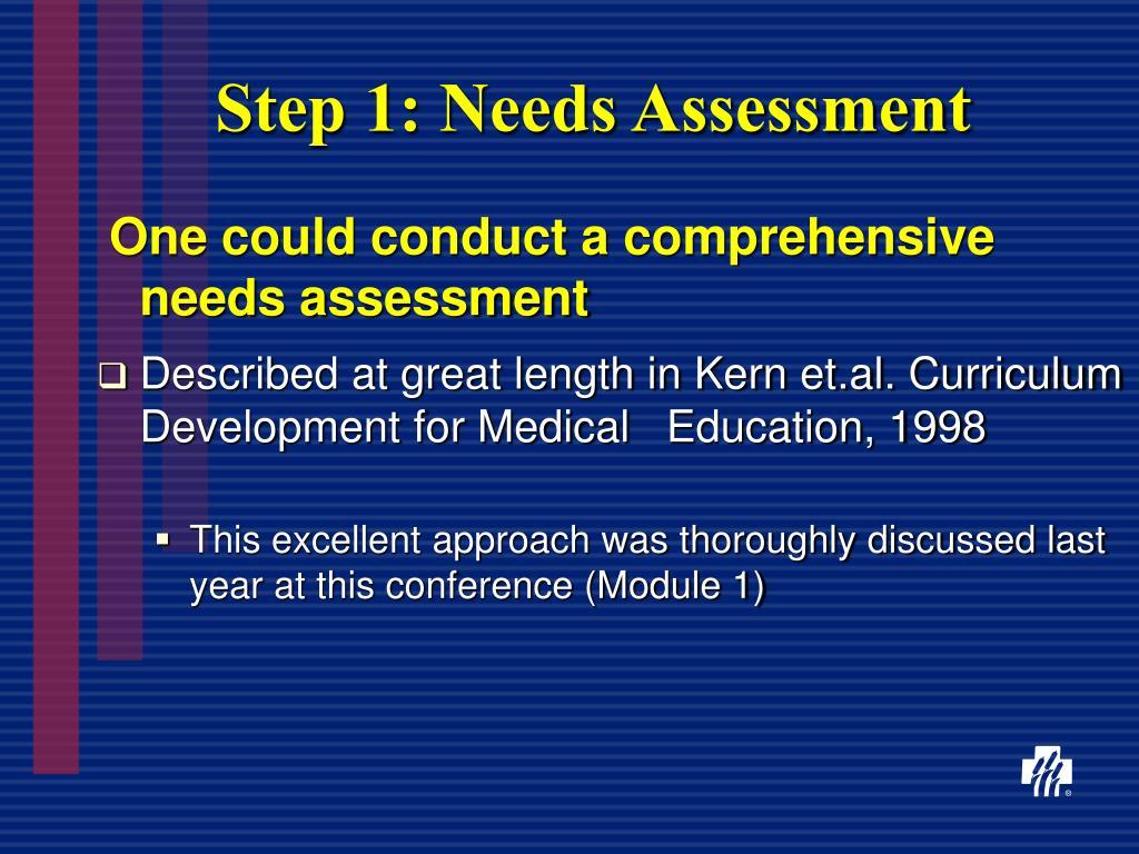 Step 1: Needs Assessment