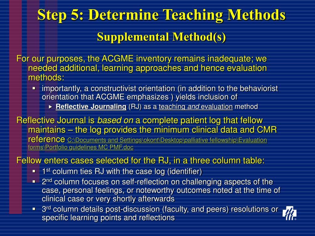 Step 5: Determine Teaching Methods
