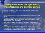 linkages between the agricultural manufacturing and services sectors