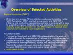 overview of selected activities20