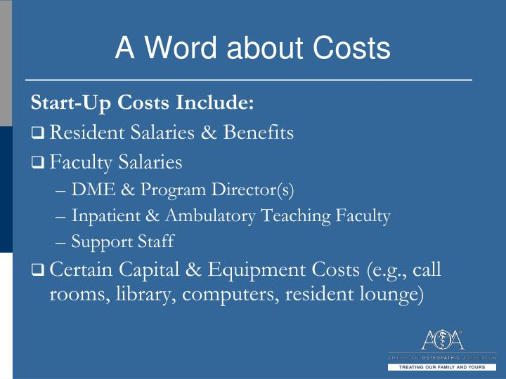 A Word about Costs