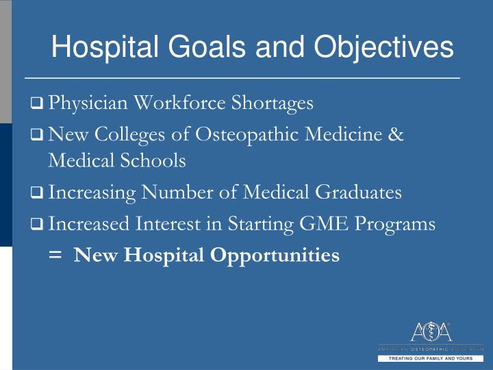 Hospital Goals and Objectives