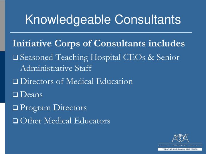 Knowledgeable Consultants