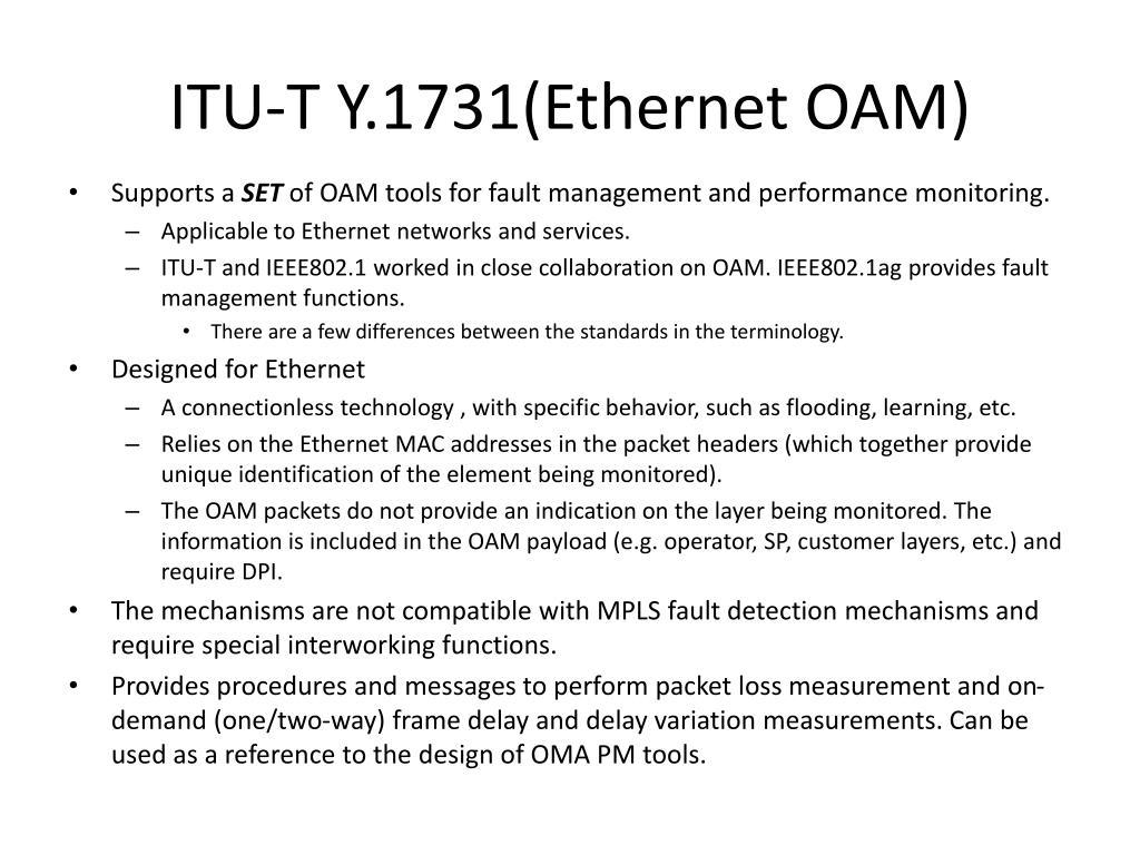 ITU-T Y.1731(Ethernet OAM)