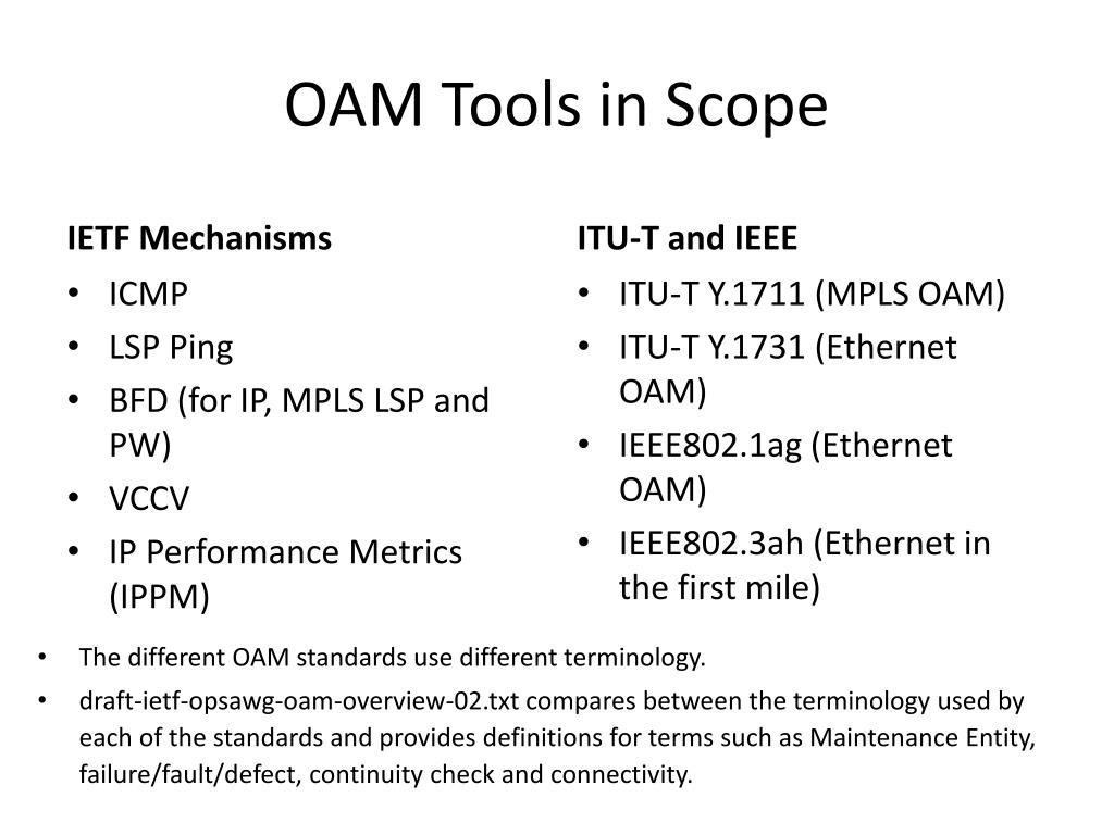 OAM Tools in Scope