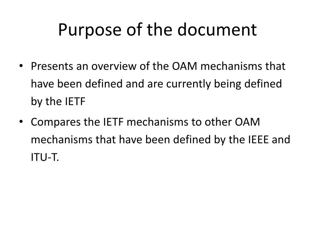 Purpose of the document