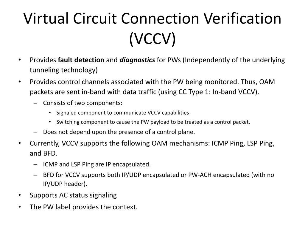 Virtual Circuit Connection Verification (VCCV)
