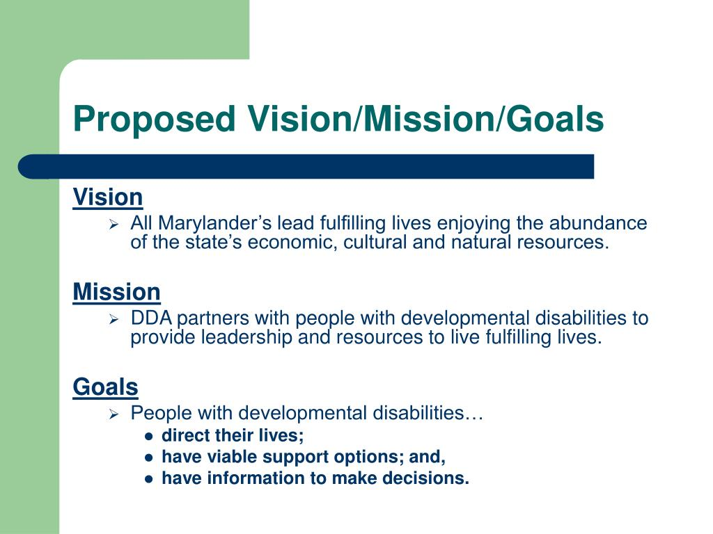 Proposed Vision/Mission/Goals