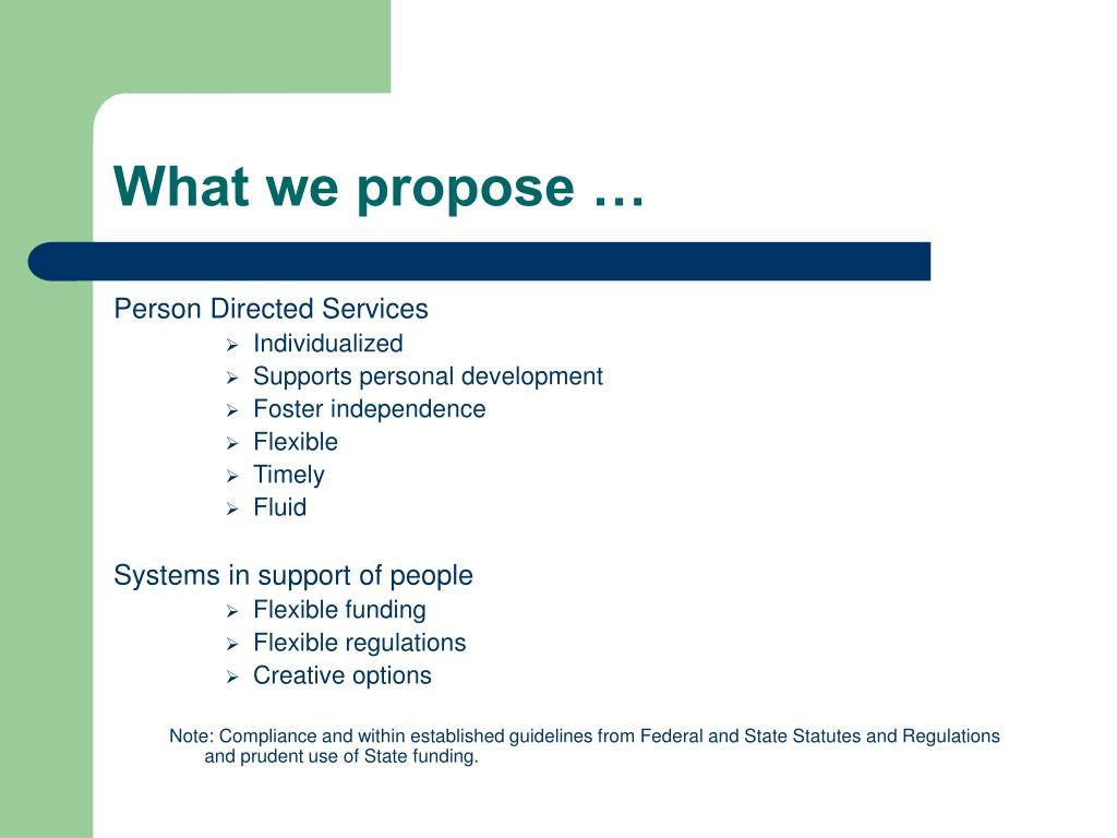 What we propose …