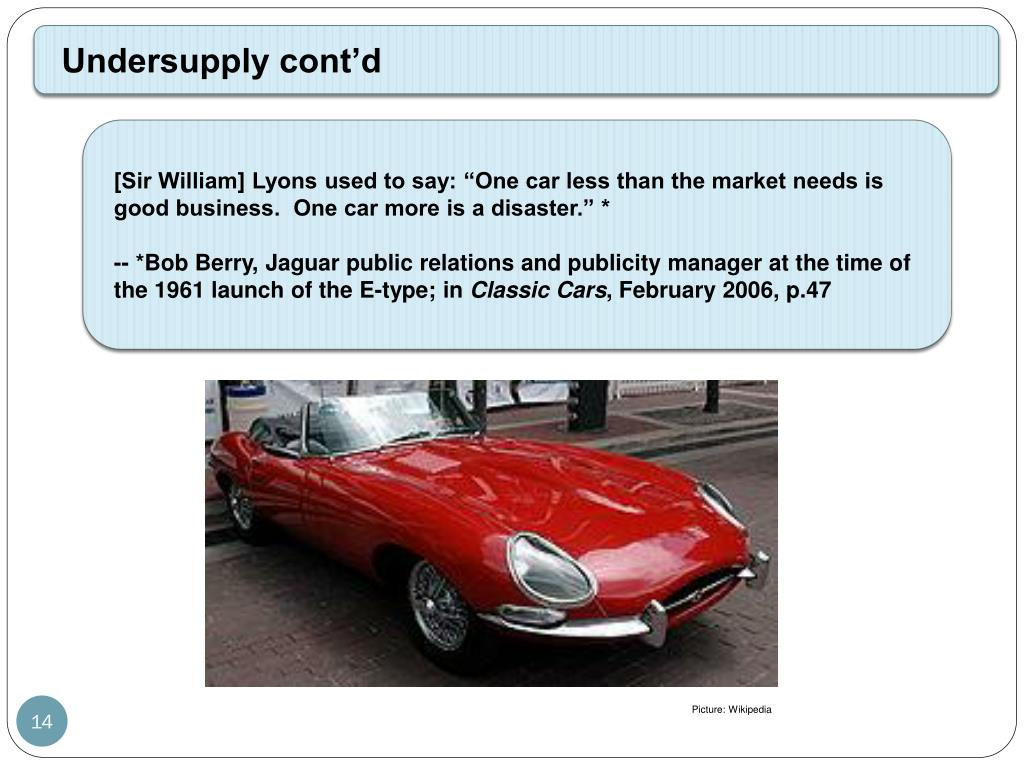 """[Sir William] Lyons used to say: """"One car less than the market needs is good business.  One car more is a disaster."""" *"""