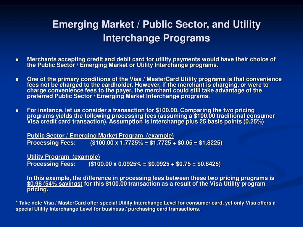 Emerging Market / Public Sector, and Utility Interchange Programs