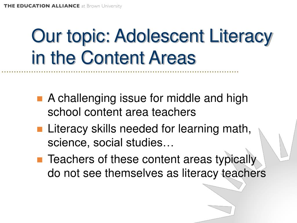 A challenging issue for middle and high school content area teachers
