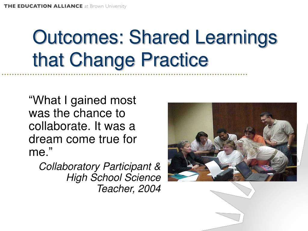 Outcomes: Shared Learnings that Change Practice