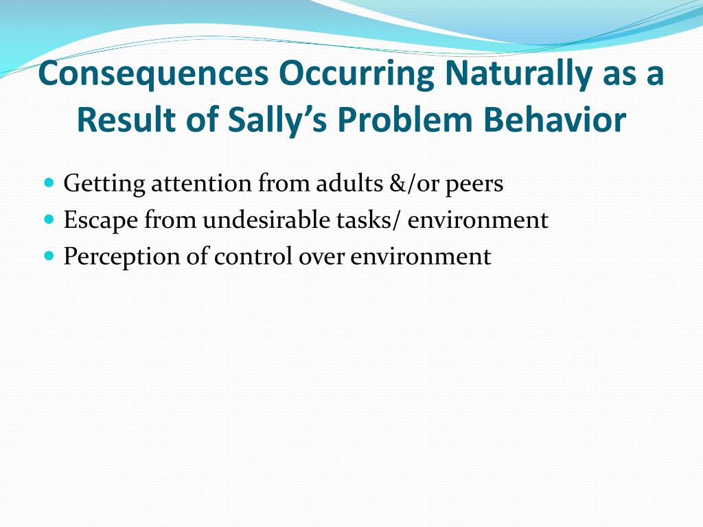 Consequences Occurring Naturally as a Result of Sally's Problem Behavior