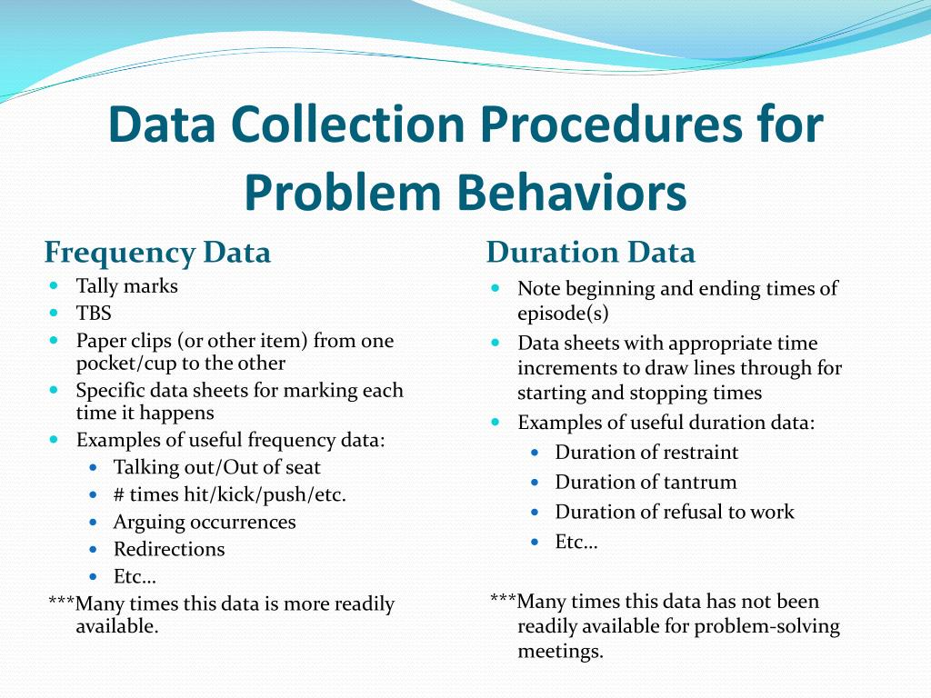 Data Collection Procedures for Problem Behaviors
