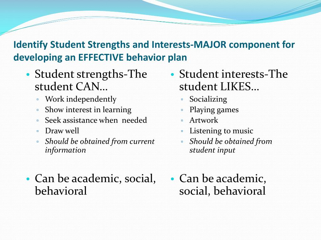 Identify Student Strengths and Interests-MAJOR component for developing an EFFECTIVE behavior plan