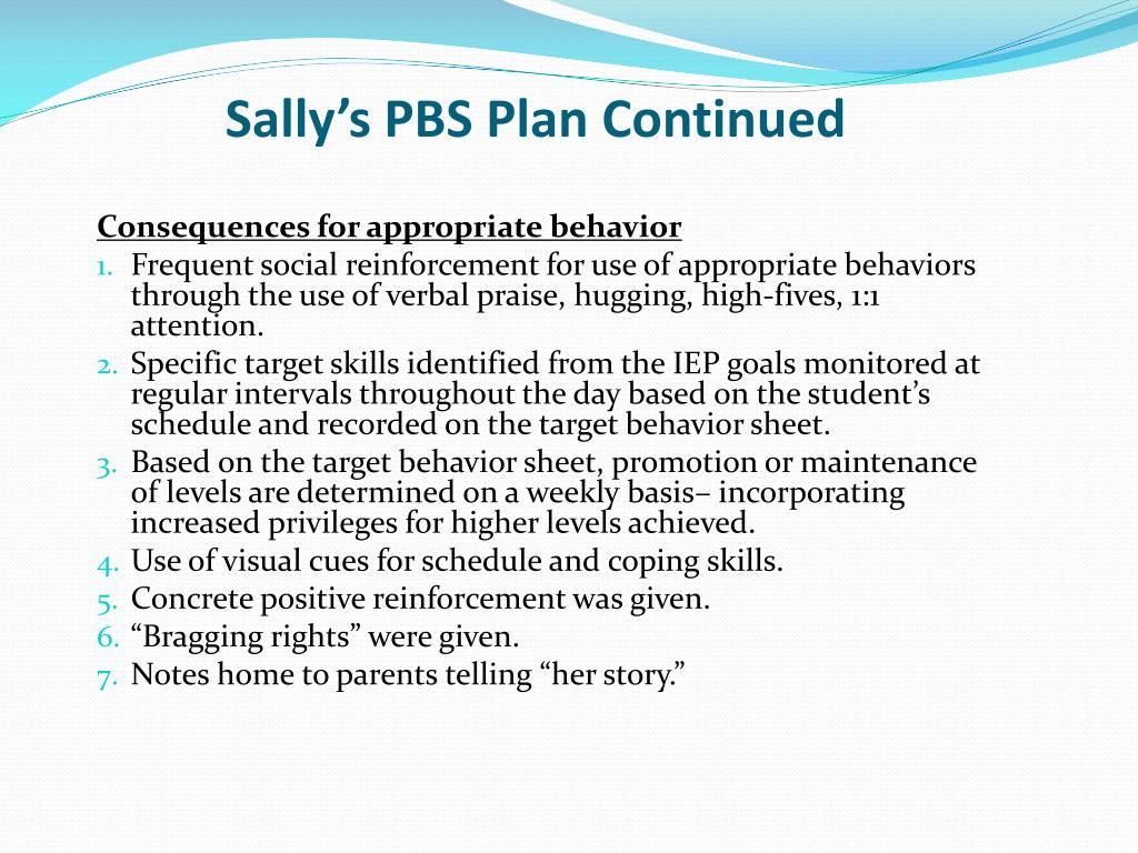 Sally's PBS Plan Continued