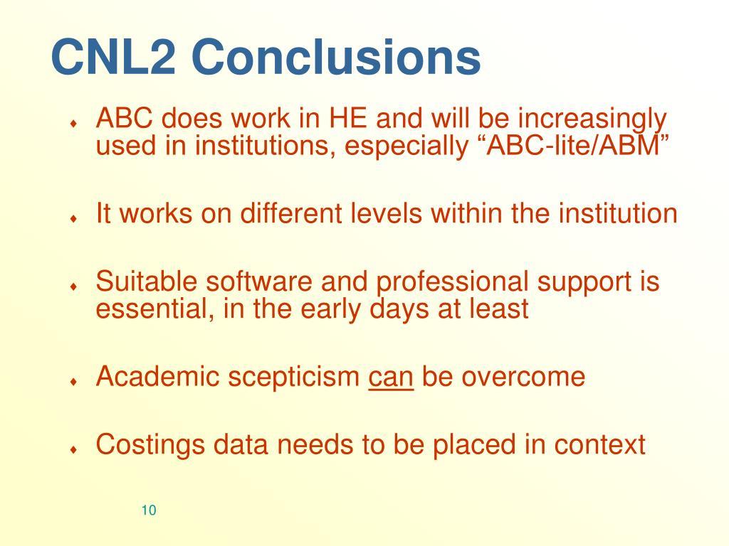 CNL2 Conclusions