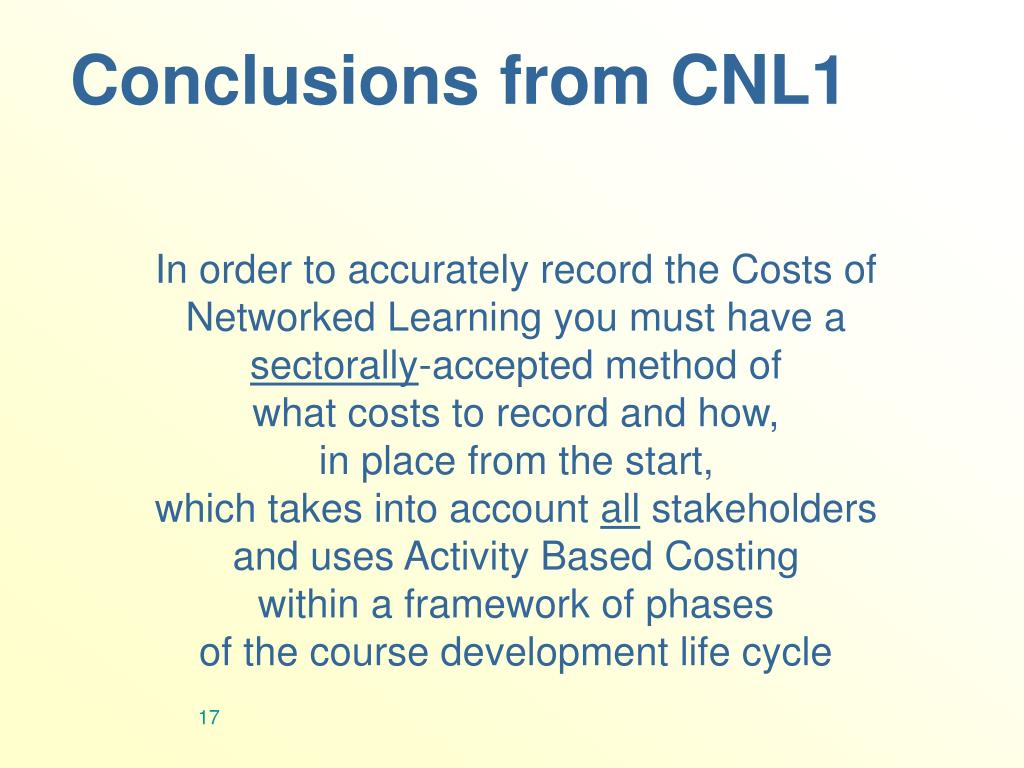 Conclusions from CNL1