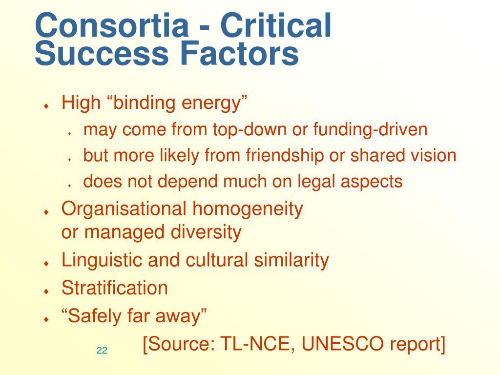 Consortia - Critical Success Factors