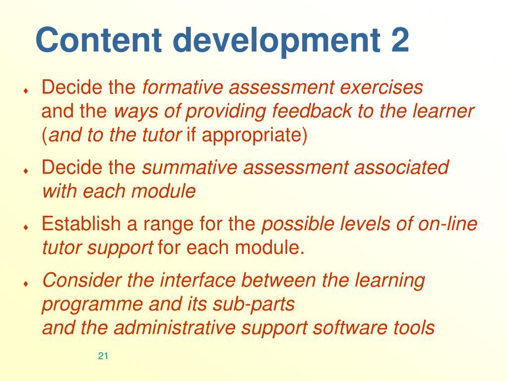 Content development 2