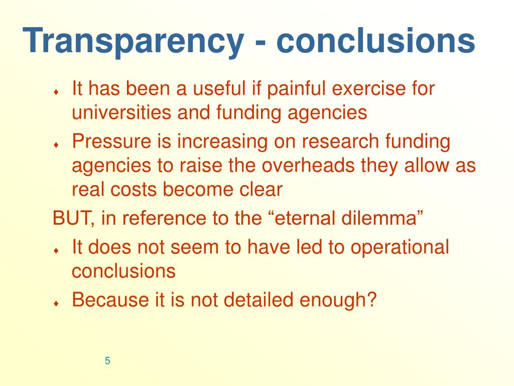 Transparency - conclusions