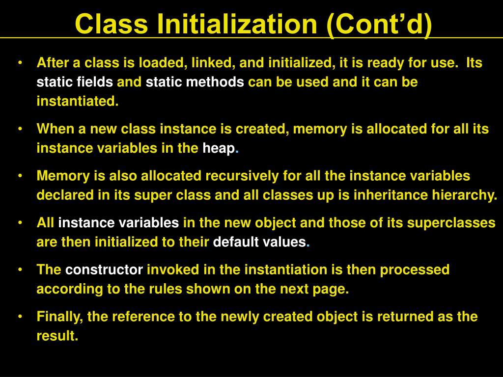 Class Initialization (Cont'd)