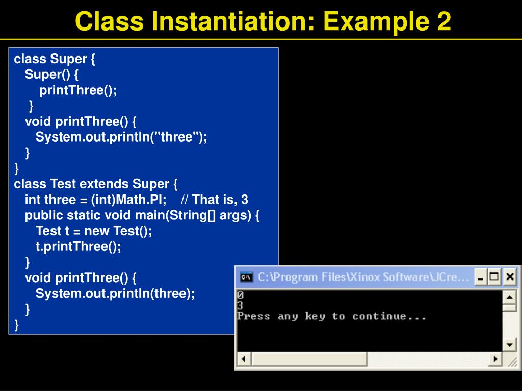 Class Instantiation: Example 2