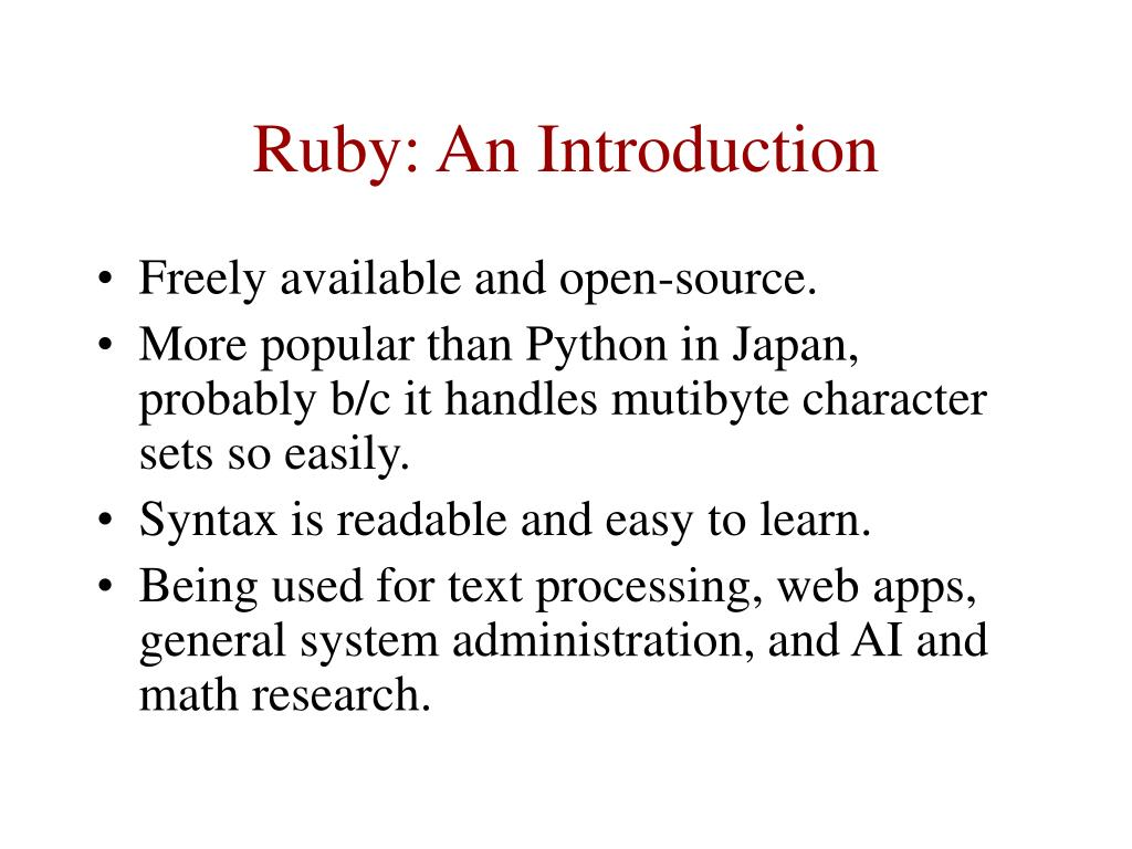 Ruby: An Introduction
