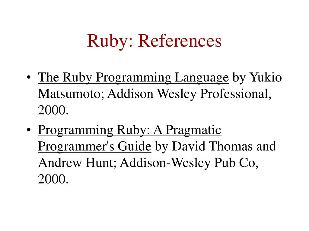 Ruby: References