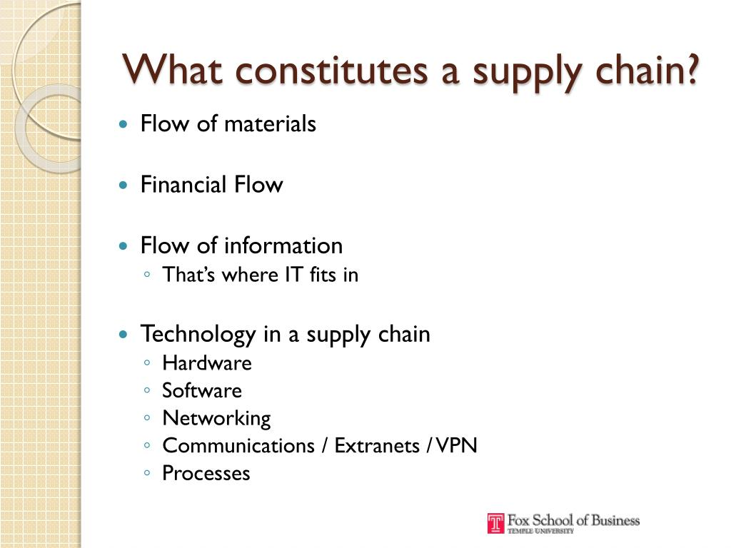 What constitutes a supply chain?