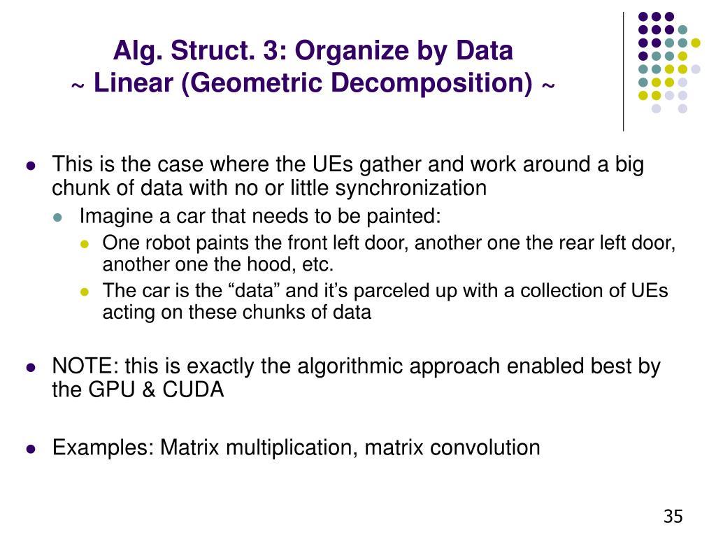 Alg. Struct. 3: Organize by Data